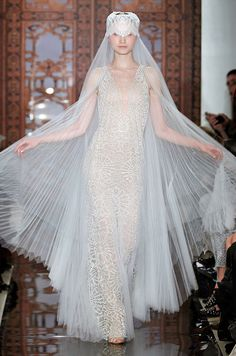 Veil and wedding dress from Reem Acra, Fall 2013