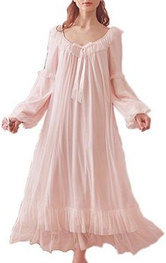 online shopping for Women's Vintage Victorian Nightgown Long Sleeve Sheer Sleepwear Pajamas Nightwear Lounge Dress from top store. See new offer for Women's Vintage Victorian Nightgown Long Sleeve Sheer Sleepwear Pajamas Nightwear Lounge Dress Cute Nightgowns, Nightgowns For Women, Pink Nightgown, Vintage Nightgown, Vintage Mode, Vintage Ladies, Princesa Anne, Victorian Fashion, Vintage Fashion