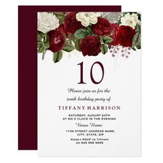 Burgundy Red White Rose 10th Birthday Party Invite Custom #babyshower invitations - Make your special day with these personalized #baby #shower #invitations change the colors font and images and make them your own.
