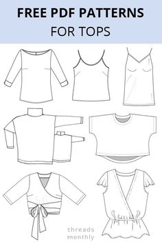 Sewing Clothes, Diy Clothing, Clothing Styles, Diy Clothes Tops, Crop Tops, Women's Tops, Tunic Sewing Patterns, Women's Clothing Patterns, Dress Pattern Free