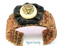 """""""Judah"""" Cuff Bracelet with Vintage Button $26 www.rejoicejewelry.com"""