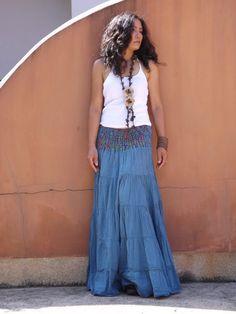 Boho Skirt ...Long Skirt ....Full Length Skirt ..Color by Ablaa