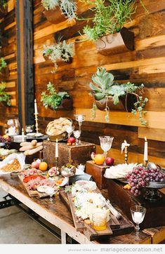 Idées pour décorer une barre ou table pleine de nourriture