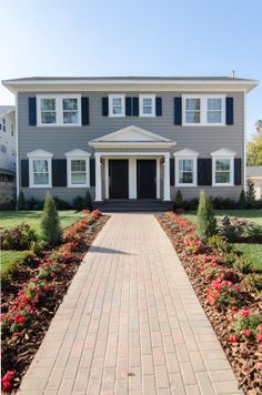 A beautiful entrance to this colonial style duplex home. Fantasy House, Outdoor Fun, Outdoor Spaces, Sims House, Home Pictures, Outdoor Landscaping, Urban Planning, Inspired Homes, Historic Homes