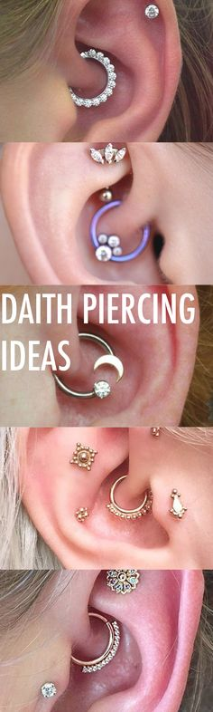 Creative Multiple Ear Piercing Ideas Combinations at MyBodiArt.com - Crystal Daith Earring Ring Hoop - Tragus Stud - Constellation Barbell - Triple Forward Helix