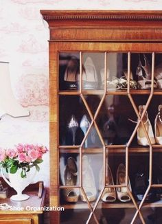 Shoes as Art: 10 Clever Shoe Storage Ideas for Small Spaces - Schuhe Small Space Bathroom, Small Spaces, Shoe Cabinet, China Cabinet, Shoe Cupboard, Cabinet Closet, Shoe Storage, Storage Ideas, Storage Solutions
