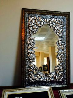 . Tin Foil Art, Aluminum Foil Art, Tin Art, Pewter Art, Pewter Metal, Mirror Photo Frames, Mirror Art, Metal Projects, Metal Crafts