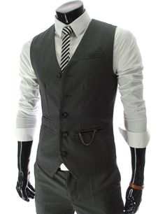 Mens slim fit chain point 5 button vest.