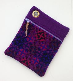 Genuine Vintage Welsh Tapestry and Wool Felt Zipped Case Purple Black by didyoumakeityourself on Etsy
