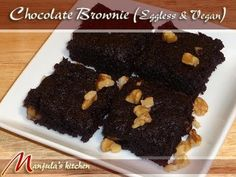 Chocolate Brownie (Eggless & Vegan) Recipe by Manjula - YouTube: Substitute Tofu with Yugurt