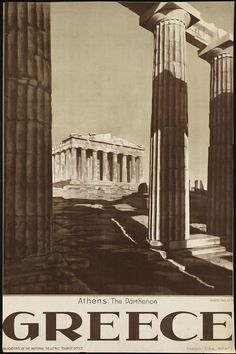 The first-dated Greek Tourist poster featuring the Parthenon as photographed by famous photographer Nelly's, following the foundation of the Greek Tourist Organization during the second period of the political leadership of Eleftherios Venizelos (1928-32).