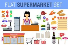 Vector set supermarket flat icons. Illustrations