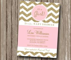Chevron Blush Pink and Gold Champagne Baby Shower Invitation - Printable You Print File - Any Color or Occasion! by eyecandeedesigns on Etsy