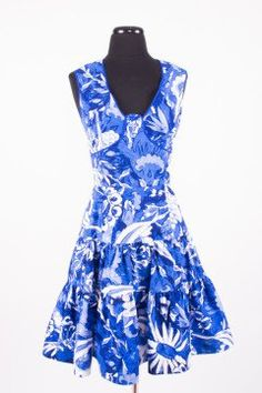 Oscar de la Renta | Blue and White Floral Print A-...