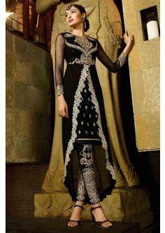 georgette noir costume Anarkali, - 147,00 €, #Robeindienne #Tenueindienne #Robebollywood #Shopkund