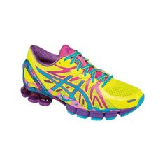 Women's ASICS GEL-Sendai 3 Running Shoe - Flash Yellow/Turquoise/Hot... ($150) ❤ liked on Polyvore featuring shoes, athletic shoes, asics footwear, stretching shoes, asics, hot pink running shoes and turquoise blue shoes