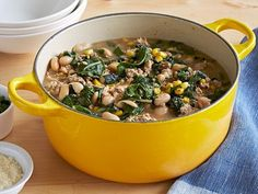 White Bean and Chicken Chili : Giada's chicken chili comes together all in one pot. Sprinkle each serving with Parmesan cheese and chopped parsley.