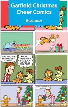Our beloved grumpy cat has a soft spot for more than lasagna. With the help of Jon and Odie, Garfield has been warming our holiday hearts since Whether he's waiting up for Santa or ripping up wrapping paper, Garfield brings the Christmas cheer. Garfield Christmas, Christmas Comics, Christmas Snowman, Read Comics, Funny Comics, Cat Celebrating, Garfield And Odie, Comics Story, Grumpy Cat