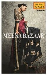 Black and Red Georgette and Net Zari & Sequins work half and half saree
