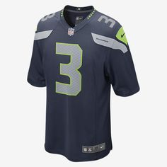 STAY TRUE TO YOUR TEAM ALL DAY, EVERY DAY, GAME DAY. Rep your favorite team and player anytime in the NFL Seattle Seahawks Game Jersey, inspired by what they're wearing on the field and designed for total comfort. TAILORED FIT This jersey features a tailored fit designed for movement. LIGHT, SOFT FEEL Screen-print numbers provide a light and soft feel. CLEAN COMFORT The no-tag neck label offers clean comfort. Product Details Strategic ventilation for breathability Woven jock tag at front…