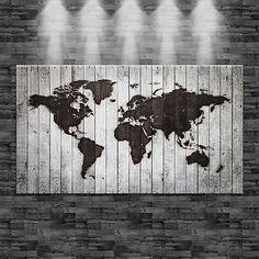 XXL Weltkarte eingebrannt auf weißes Holz (Optik) auf Leinwand 160cm x 90cm