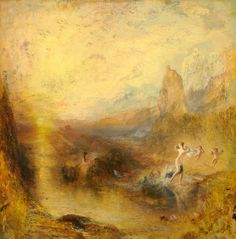 """Joseph Mallord William Turner, """"Glaucus and Scylla,"""" © Kimbell Art Museum. During Turner's lifetime and ever since, his paintings have been most admired for his virtuoso renditions of natural appearances, especially dramatic light effects. Joseph Mallord William Turner, Will Turner, Turner Painting, Google Art Project, Watercolor Landscape Paintings, Oil Paintings, Royal Academy Of Arts, Covent Garden, Famous Artists"""