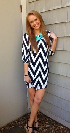 #ad Can't get enough of these chevron print shift dresses! This black and white is a classic!