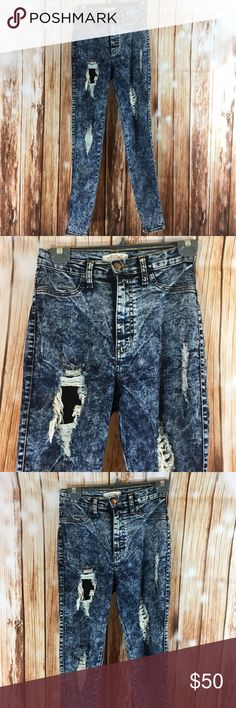 Vibrant acid washed jeans Worn once. Purchased from nasty gal Nasty Gal Jeans Skinny