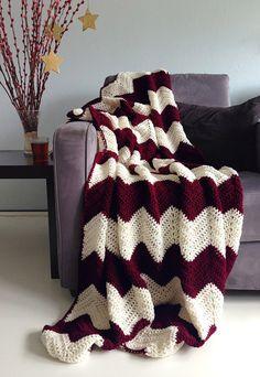 Christmas blanket  crochet chevron afghan by WinkelvanCinkel