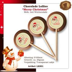 Chocolade lollies Merry Christmas / Per stuk verpakt. Smaak melk Te bestellen vanaf 1000 stuks  # kerst # lollies # chocolade