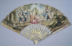 """Fan """"Rape of the Sabine Women"""", 18th century. (I have a fan collection but nothing like these!)"""