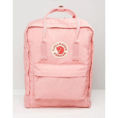 Fjallraven Classic Kanken In Pastel Pink (€92) ❤ liked on Polyvore featuring bags, pink bag, fjallraven backpack, fjallraven rucksack, day pack backpack and pastel bag