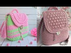 Tejidos en Crochet / Mochilas / Cartucheras - YouTube Fashion Backpack, Backpacks, Youtube, Craftsman Homes, Homemade Home Decor, Crocheting, Dots, Backpack, Youtubers