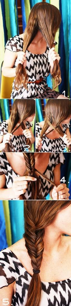 HOW TO FISHTAIL BRAID: You divide your hair into 2 equal sections, and take a piece for the outside (or back) of the strand, cross it over, and add it to the next one. You just keep doing that all the way down. The smaller the pieces, the cooler it looks.
