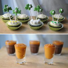 Boozy Irish Cupcakes & Bailey's Pudding Shots: 1 pkg. instant chocolate pudding+ 3/4 cup of Bailey's + 1 1/4 cup of milk