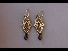 Sidonia's handmade jewelry - Losange earrings - beading tutorial - YouTube