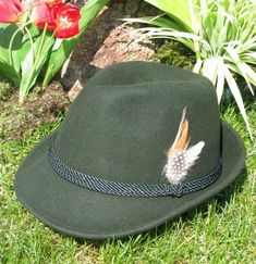 German trachten hat with feather Tyrolean hat