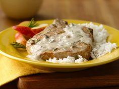 Pork Cutlets With Creamy Mushroom And Caramelized Shallot Sauce ...