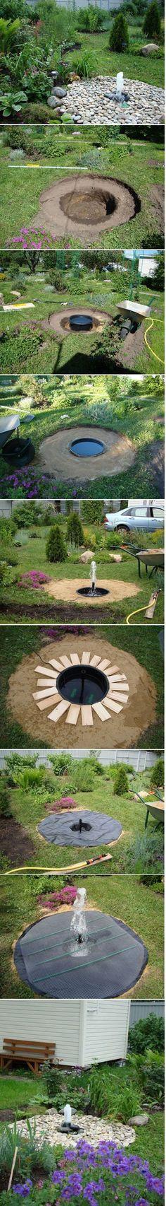 DIY Backyard Buried Fountain: