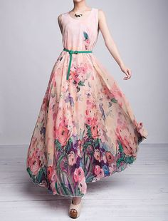 Pink Floral Printed Long Sleeves Chiffon Jewel Neck Maxi Dress ...