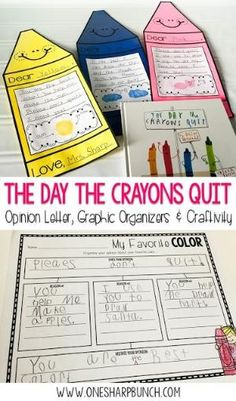 "Get your primary students excited about opinion writing with ""The Day the Crayons Quit"" and this super cute crayon craftivity! Your kiddos are sure to be engaged as they complete this persuasive letter to their favorite color! by fannie"