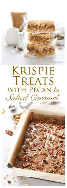Salted Caramel Pecan Krispie Treats: soft, creamy, salty caramel & pecan nuts wedged between layers of sweet vanilla scented Rice Krispie marshmallow squares. Decadently sweet. Utterly gooey. Totally tempting