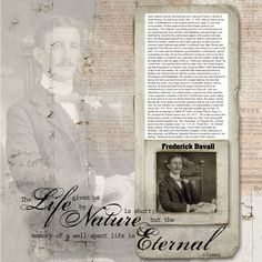 Fredrick Davall's obiturary scrapbook layout by dsp member sherrillbird Fabulous Heritage Page