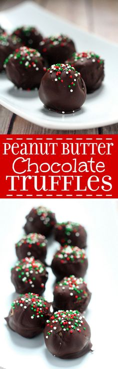 Peanut Butter Chocolate Truffles with creamy, salty peanut butter covered in decadent chocolate and festive sprinkles will be the hit at your Christmas party. This easy homemade Christmas truffles recipe is great for a Christmas cookies exchange. Christmas Truffles, Christmas Sweets, Christmas Cookies, Christmas Sprinkles, Christmas Recipes, Christmas Brunch, Christmas Candy, Christmas Ideas, Christmas Crafts