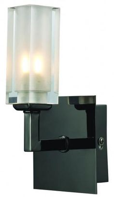 THE HILTON  SINGLE ARM MODERN WALL LIGHT  COLOUR FINISH BLACK CHROME  COMPLETE WITH CRYSTAL GLASS SHADE