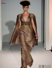Arabic Style Evening Dress V Neck Cap Sleeve Empire Robe Arabe Dubai With Bead Long Brown Gown(China (Mainland))
