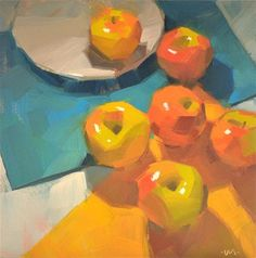 DPW Fine Art Friendly Auctions - Apple Migration by Carol Marine Artist uses complementary colours. Blue and Orange. cool and warm Still Life Oil Painting, Fruit Painting, Fine Art Auctions, Still Life Art, Traditional Paintings, Funny Art, Painting Inspiration, Art For Sale, Art Drawings