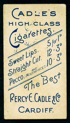 "Cigarette Card Back - Cadle's ""Sweet Lips"" Cigarettes by cigcardpix, via Flickr"