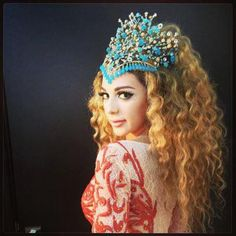 Myriam Fares Wearing a Rami Kadi Headpiece