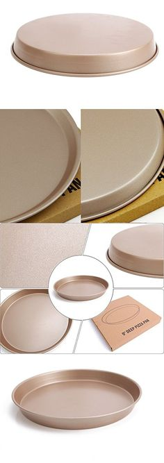 DarNio Chefmade 3 layer Non Stick surface, Champagne Gold Color,Excellent Heat Conduction 9-Inch Deep Dish Pizza Pan